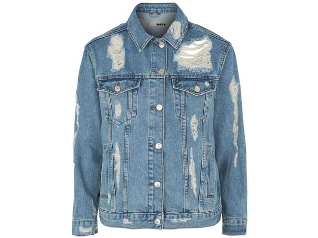 Denim jacket available at Topshop in Mirdif, Bahrain, and Beirut