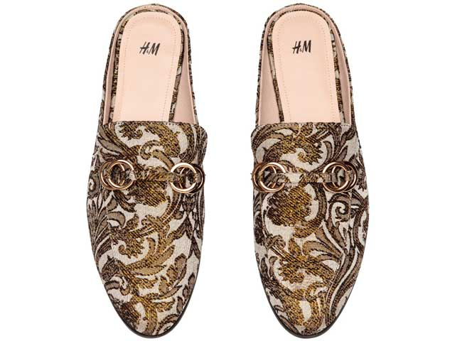 Gold loafers available at H&M